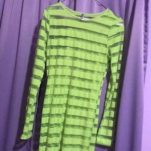 Neon green dress see through